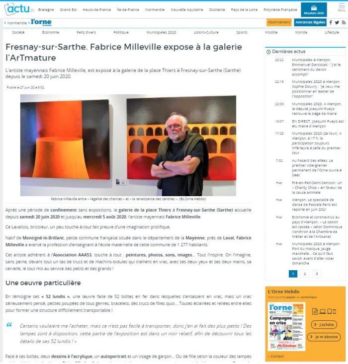 Fabrice Milleville expose à la galerie l'ArTmature de Orne Hebdo