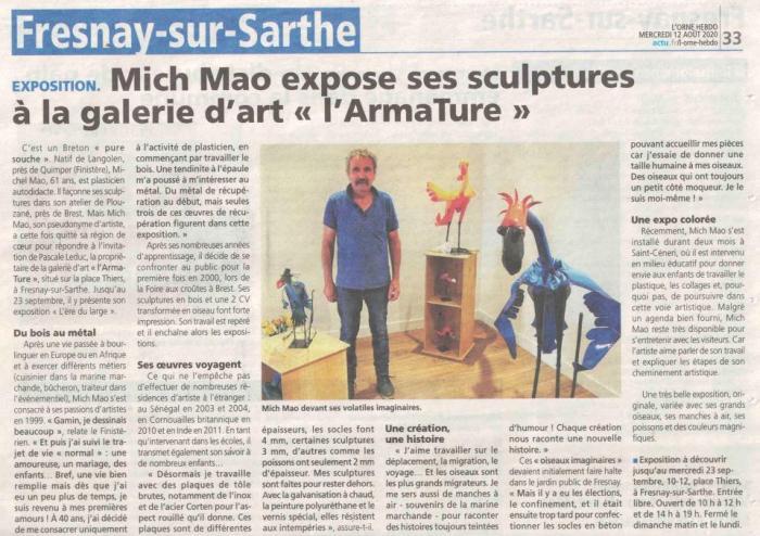 "Mich Mao expose ses sculptures à la galerie d'art ""l'ArTmature"" de Orne Hebdo"