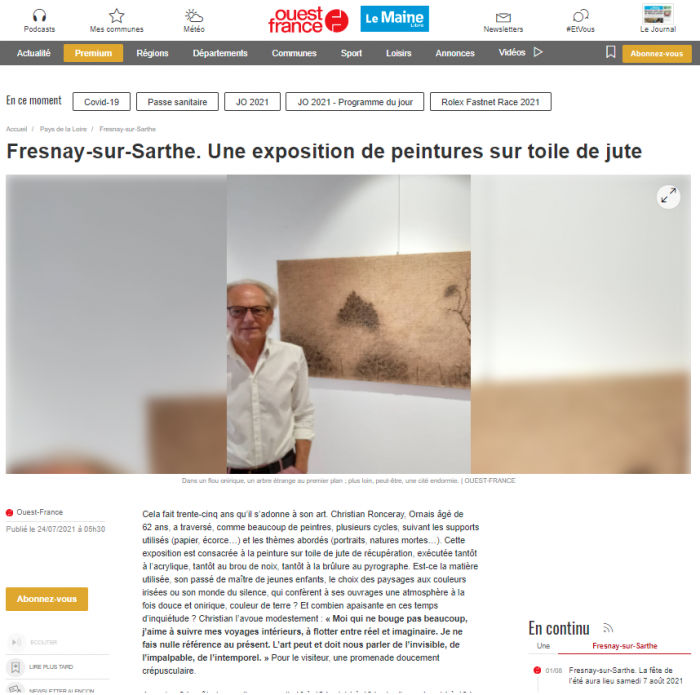 Fresnay-sur-Sarthe. Une exposition de peintures sur toile de jute de Ouest France